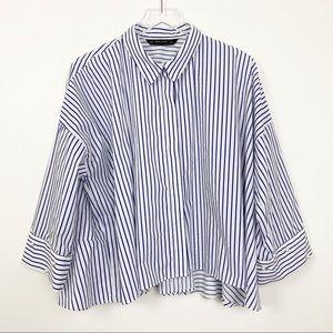 Zara Basic Stripe Pearl Peplum Oversized Shirt